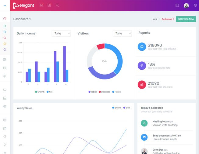 Elegant Bootstrap 4 Admin Theme from WrapPixel