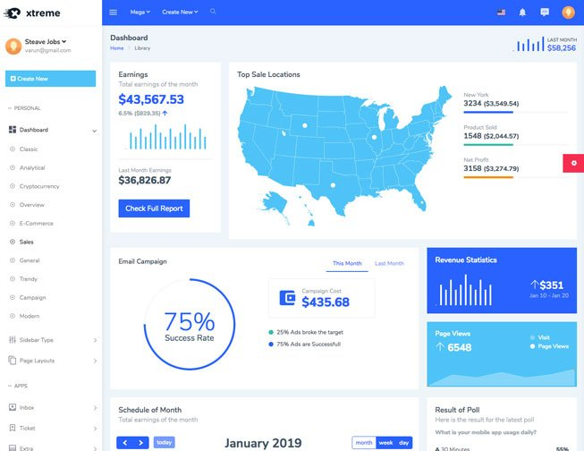 Xtreme Bootstrap 4 Admin Template from WrapPixel